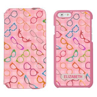 Eyeglasses Retro Modern Hipster Pink Gingham Name Incipio Watson™ iPhone 6 Wallet Case
