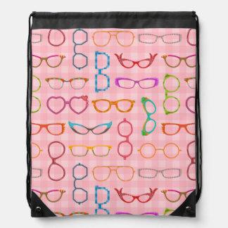 Eyeglasses Retro Modern Hipster with Pink Gingham Drawstring Bag