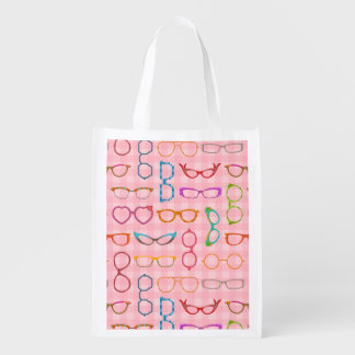 Eyeglasses Retro Modern Hipster with Pink Gingham Grocery Bags