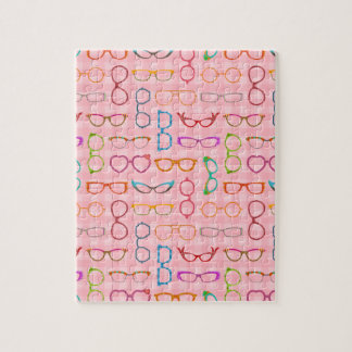 Eyeglasses Retro Modern Hipster with Pink Gingham Jigsaw Puzzle