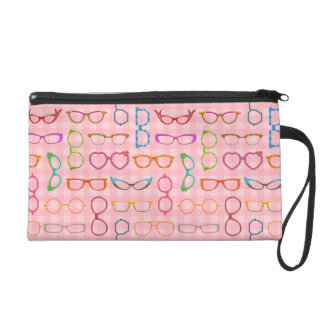Eyeglasses Retro Modern Hipster with Pink Gingham Wristlets
