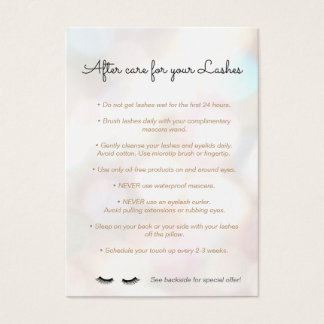 Eyelash  Aftercare Instructions Referral Bokeh Business Card