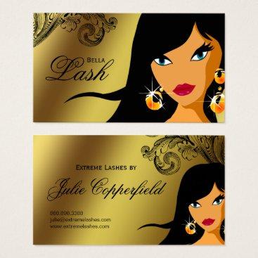 Professional Business Eyelash Business Card Gold Ethnic Woman Tan