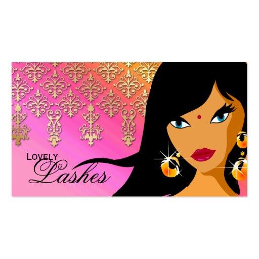 Eyelash Business Card Indian Woman Orange Pink