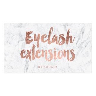 Eyelash custom modern rose gold typography marble business card