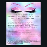 "EYELASH EXTENSION CONSENT, RELEASE AND WAIVER Pink Flyer<br><div class=""desc"">florenceK design</div>"