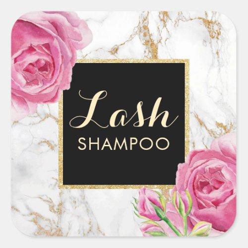 Eyelash Extension Lash Cleaner Vintage Floral Square Sticker