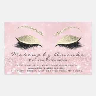 Eyelash Extension Makeup Beauty Salon Pink Gold1 Rectangular Sticker