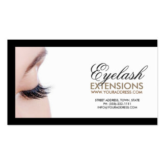 Eyelash Extensions Black Border Simple White Card Double-Sided Standard Business Cards (Pack Of 100)
