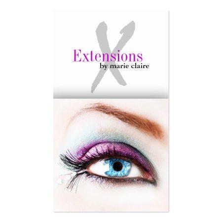 Striking Piercing Blue Eye Eyelash Extensions Business Cards