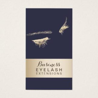 Eyelash Extensions Classy Blue & Gold Modern Business Card