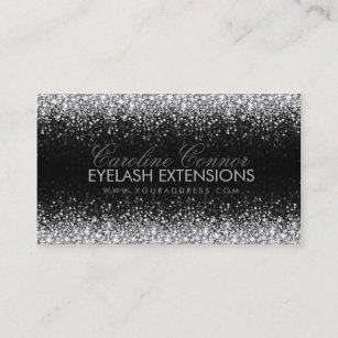 eyelash extensions glitter star rain business card - Lash Extension Business Cards