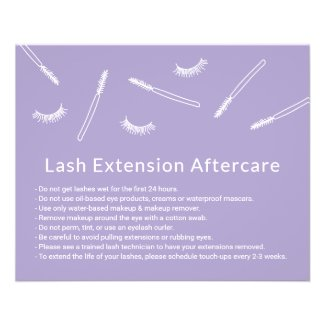 Eyelash Extensions Lavender Cute Salon Aftercare Flyer