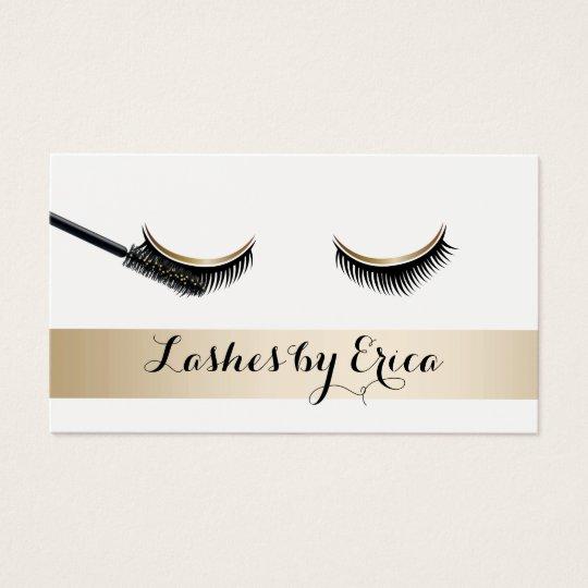 Eyelash Extensions Makeup Artist Gold Stripe Business Card Zazzle