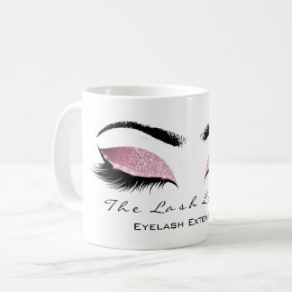 Eyelash Extention Beauty Pink Blush  Glitter Coffee Mug