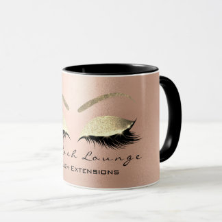 Eyelash Extention Beauty Studio Rose  Gold Glitter Mug