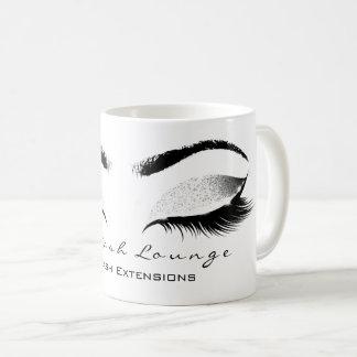 Eyelash Extention Beauty Studio White Gray Glitter Coffee Mug