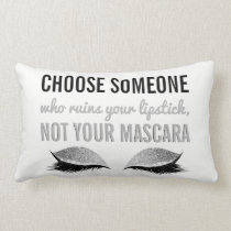 Eyelash Makeup Inspirational Quote Black and White Lumbar Pillow