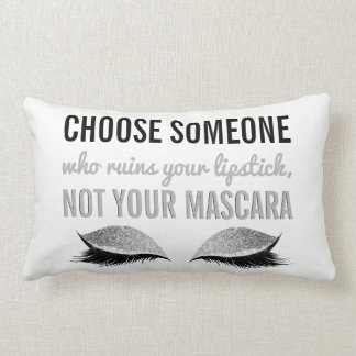 Eyelash Makeup Inspirational Quote Black and White Lumbar Pillow