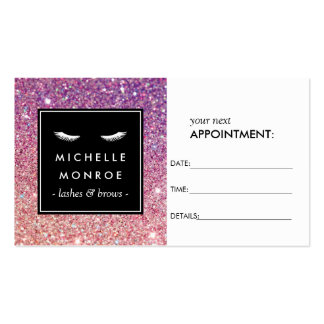 Eyelashes and Purple/Pink Glitter Appointment Card