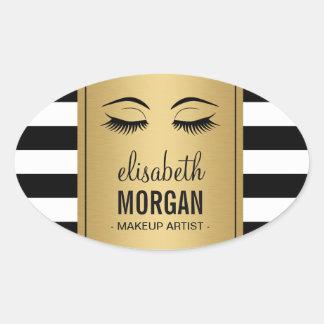 Eyelashes Logo Makeup Artist Gold Stripes Oval Sticker