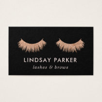 Eyelashes Makeup Artist Rose Gold Business Card