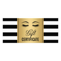 Eyelashes Makeup Gift Certificate Gold B&W Stripes