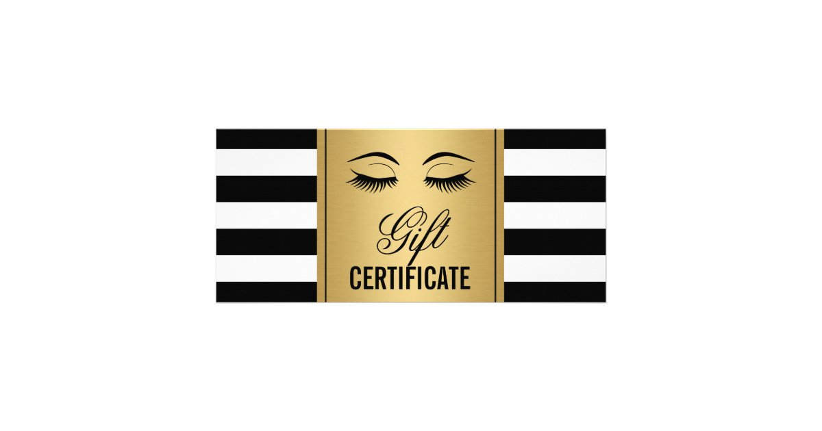 Certificate gifts on zazzle eyelashes makeup gift certificate gold bampw stripes yelopaper Image collections