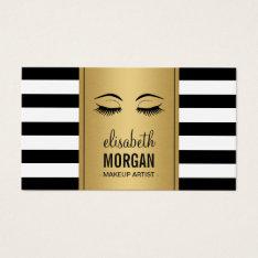 Eyelashes Makeup Logo Gold Black White Stripes Business Card at Zazzle