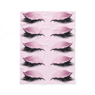 Eyelashes Pink Glitter Girly Fleece Blanket
