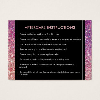 Eyelashes Purple/Pink Glitter Salon Aftercare Card