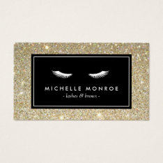 Eyelashes with Gold Glitter Business Card at Zazzle