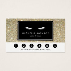 Eyelashes with Gold Glitter Loyalty Punch Card at Zazzle