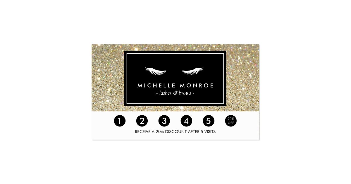 Eyelashes with Gold Glitter Loyalty Punch Card Double