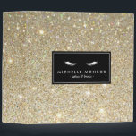 """Eyelashes with Gold Glitter Personalized Binder<br><div class=""""desc"""">Coordinates with the Eyelashes with Gold Glitter Business Card Template by 1201AM. A gold glitter image fills the background of this beauty-themed binder. A pair of white eyelashes is perfect branding for eyelash extensions, makeup artists, cosmetic companies, lash bars and more. This personalized binder is perfect for office supplies, portfolio...</div>"""