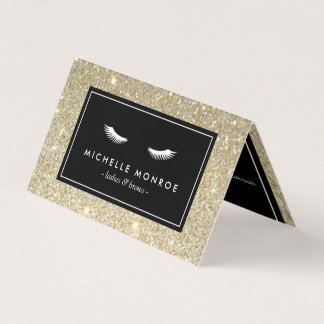 Eyelashes with Gold Glitter Salon Aftercare Business Card