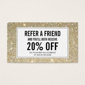 Eyelashes with Gold Glitter Salon Referral Card