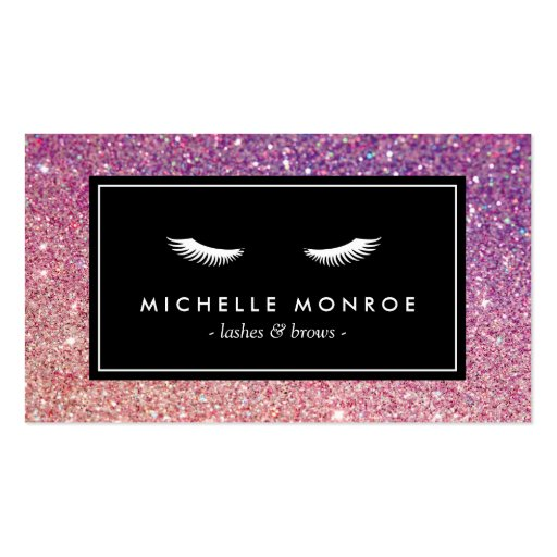 Eyelashes with purple pink glitter business card zazzle for Purple business cards