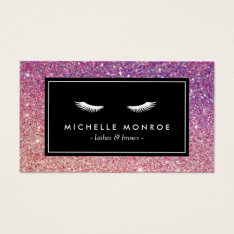 Eyelashes with Purple/Pink Glitter Business Card at Zazzle