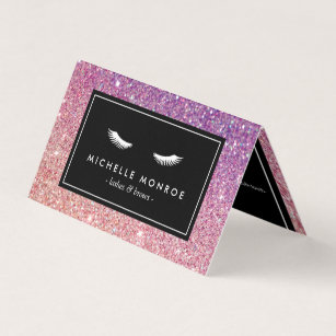 Purple business cards templates zazzle eyelashes with purplepink glitter salon aftercare business card colourmoves