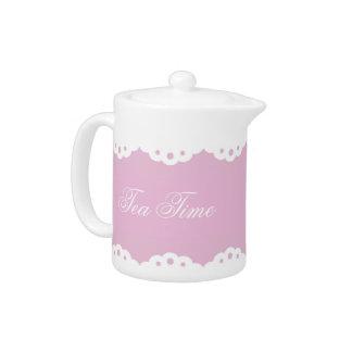 Eyelet Lace on Pink Porcelain Teapot