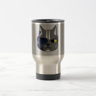 eyepatch del gris del gato del pirata taza de viaje