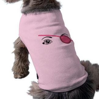 Eyepatch rosado playera sin mangas para perro