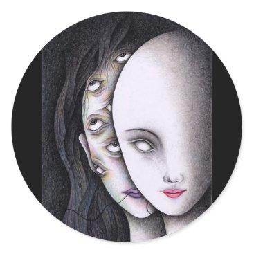 Art Themed Eyes Classic Round Sticker