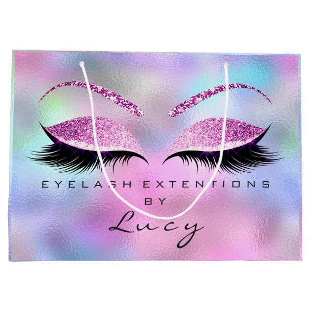 Personalized Eyelash makeup bag lips glitter purple purse lashes cheetah case beauty name travel sparkly bling bridesmaids gift idea party