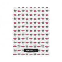 Eyes & Lips Kitschy Pattern Custom Name Fleece Blanket