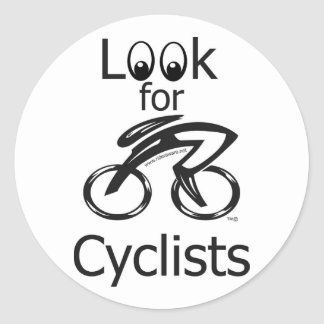 Eyes_Look_for_Cyclists_2 Classic Round Sticker