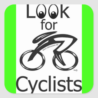 Eyes_Look_for_Cyclists_2 Square Sticker