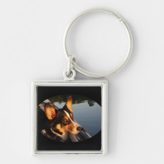 Eyes of a Star Silver-Colored Square Keychain