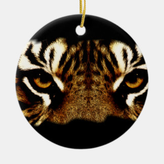 Eyes of a Tiger Double-Sided Ceramic Round Christmas Ornament